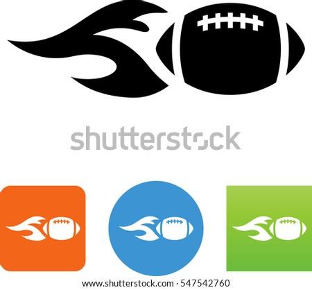 flaming american football icon