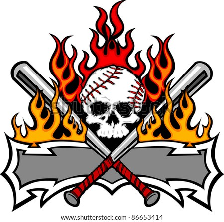 Flaming Baseball Bats and Skull Template Image