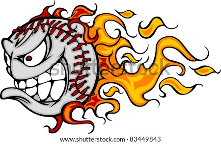 Flaming Baseball or Softball Face Cartoon
