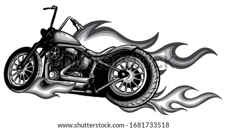 Flaming Bike Chopper Ride Front View vector Stock photo ©