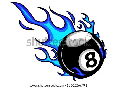 flaming billiards eight ball