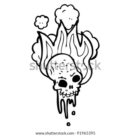 flaming halloween skull cartoon