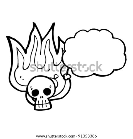 flaming halloween skull with thought bubble