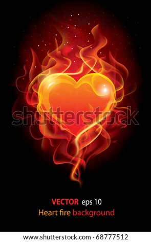 Flaming heart. Beautiful Vector editable background on Valentine's Day