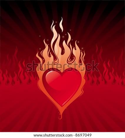 Pin Flaming Heart Infernal Love Stock Vector 8697049 ...