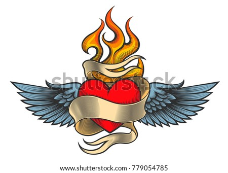 flaming heart with wings and
