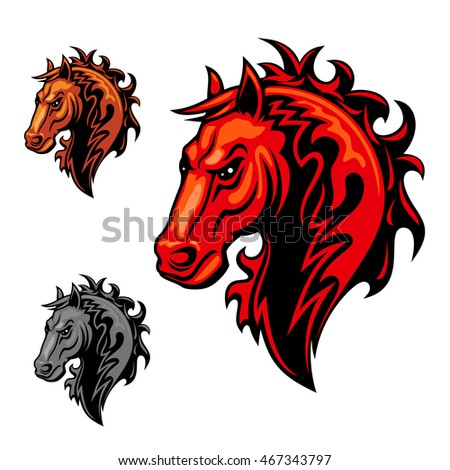 Flaming Horse Symbol Made Up Of Swirling Fire Flames With Tribal