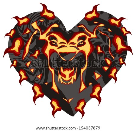 Flaming lion head in the form of heart