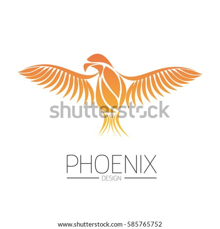 flaming phoenix bird with wide