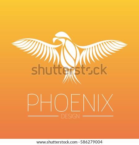 flaming phoenix bird with wide