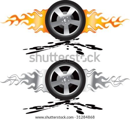 Flaming Racing Tire On Orange Shiny Stock Vector 53465410 ... |Flamming Tire