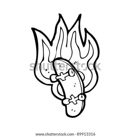 flaming skateboard cartoon