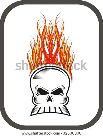 custom skull tattoos. custom skull tattoos. Flaming skull vector. abstract