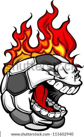 Flaming Soccer Ball Face Cartoon Vector Illustration