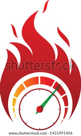 Flaming speed gauge vector icon in abstract style on the white background. Fire icon for your best business symbol. Vector illustration EPS.8 EPS.10