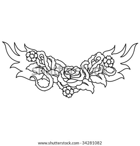 stock vector : Flaming Tattoo Roses