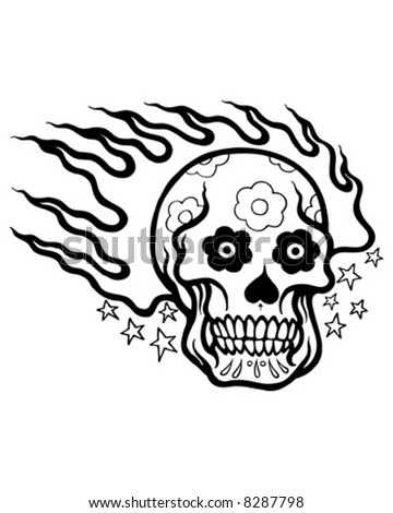 Flaming Skull Coloring Pages http://www.shutterstock.com/pic-8287798/stock-vector-flaming-tattoo-skull.html