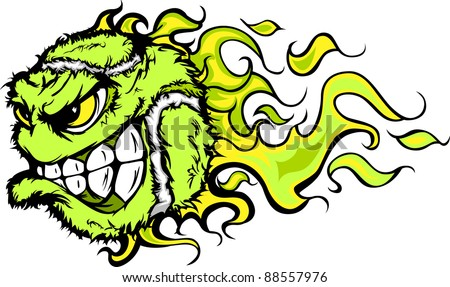 Flaming Tennis Ball Face Cartoon Illustration Vector - stock vector