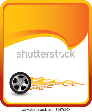 stock-vector-flaming-tire-on-orange-rip-curl-background