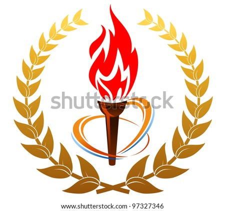 Flaming torch in laurel wreath for medieval design, such  a logo. Jpeg version also available in gallery