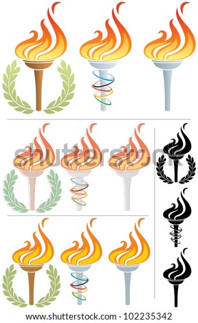 Flaming Torch: Stylized illustration of a flaming torch in 12 different versions. No transparency used. Basic (linear) gradients used in the first 3 torches.