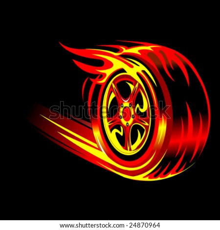 Black  White Clip  Auto Racing on Flaming Vector Wheel In Black Background  Speed And Racing Concept