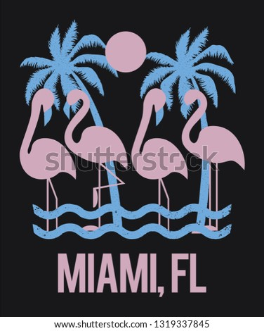 flamingo and palm trees vector