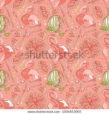 Flamingo and watermelon. Seamless vector pattern (background).