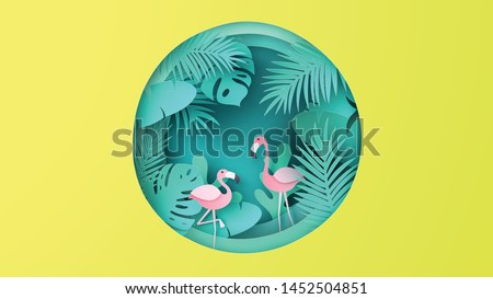 Flamingo bird couple with tropical forest background in summer season. Graphic design for Summer. paper cut and craft style. vector, illustration.