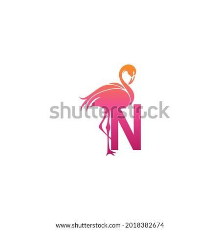 Flamingo bird icon with letter N Logo design vector template Foto stock ©