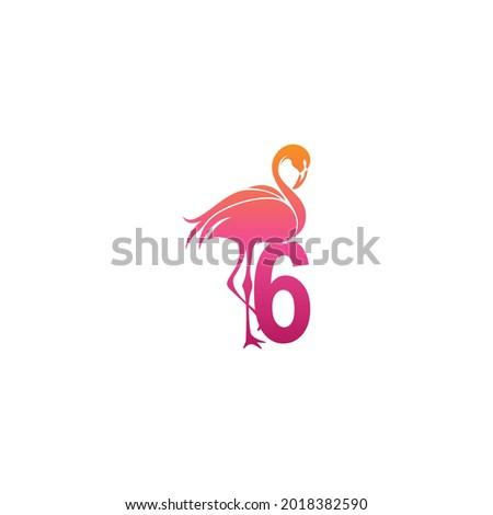 flamingo bird icon with number