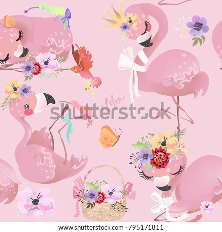 flamingo, bird, pink, hummingbird, baby, princess, girl, crown, flowers, bouquets, floral, queen, cute, animal, tropical, bird, exotic, basket, balloons, bow, romantic, love, paradise, dreaming, nurse