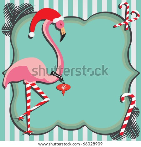 flamingo christmas card with