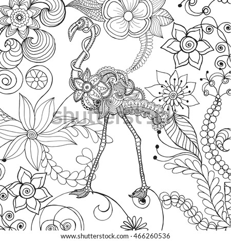 flamingo in fantasy flower