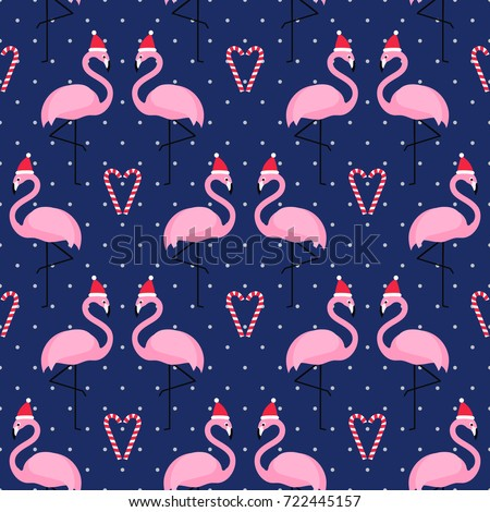 flamingo in xmas hat with candy