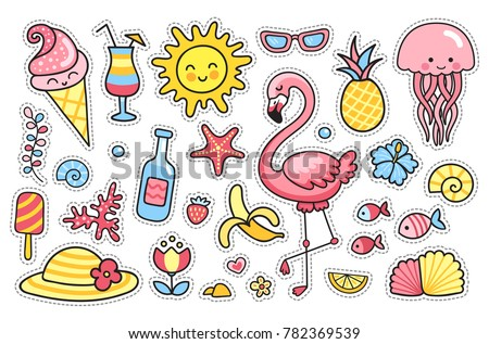 Flamingo, jellyfish, sun, cute animals, tropical fruit, flowers, ice cream, banana, pineapple. Set of cartoon stickers, patches, badges, pins, prints for kids. Doodle style. Vector illustration.