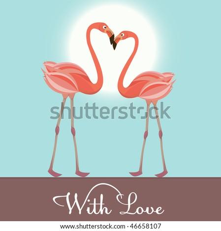 Flamingo love. Vector Illustration
