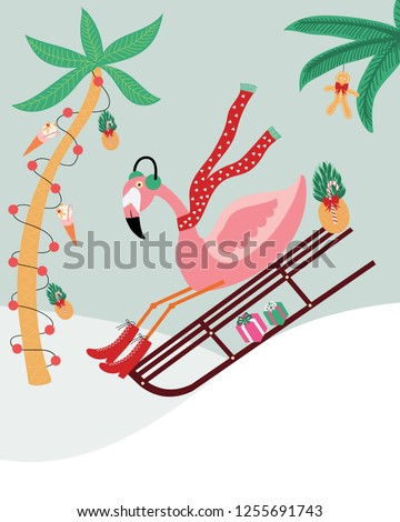 flamingo on a sleigh ride in