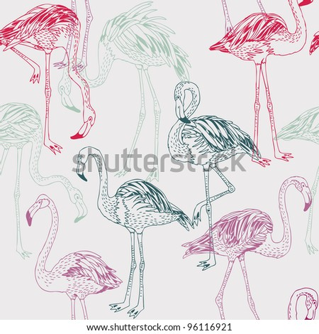 flamingo. seamless pattern