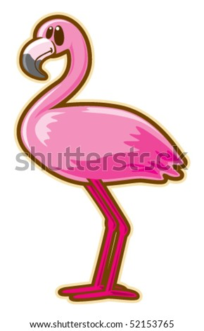 Flamingo. Vector without gradients.