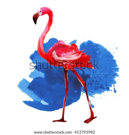 flamingo.watercolor, vector