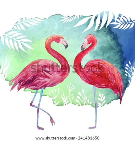 flamingos watercolor tropical