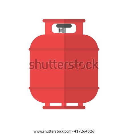 Flammable gas tank icon. Propane, butane, methane gas tank. Flat vector illustration