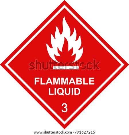 flammable liquid sign red square Foto stock ©