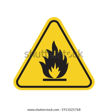 Flammable materials sign for print. W 01 sign icon isolated on white background. Foto stock ©
