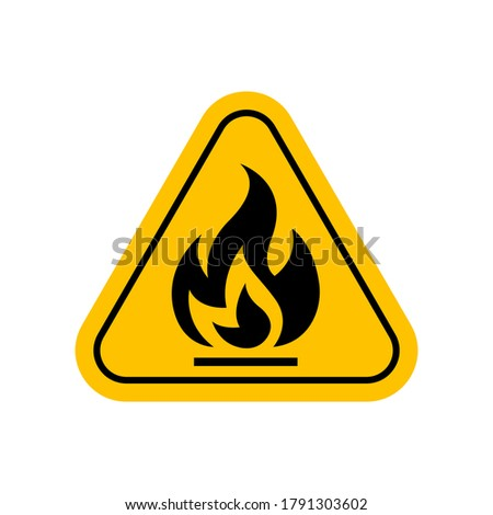flammable materials warning sign, caution fire sign yellow, gas hazard symbol, attention fire hazard icon, triangle flame warning sign Foto stock ©