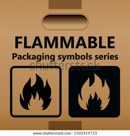 Flammable packaging symbol for use on cardboard boxes, packages and packages