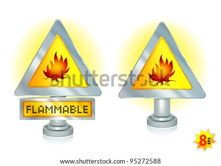 Flammable sign. Mesh & gradients design.