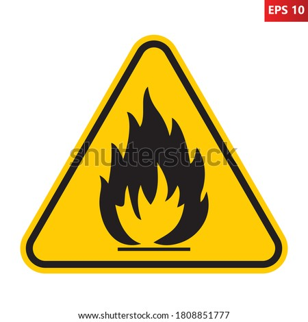 Flammable substances sign. Vector illustration of yellow triangle warning sign with flame fire inside. Attention. Danger zone. Caution flammable materials. Keep away from fire symbol. Foto stock ©