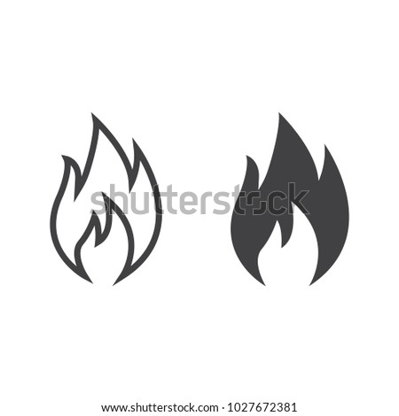 Flammable symbol line and glyph icon, logistic and delivery, fire sign vector graphics, a linear pattern on a white background, eps 10.